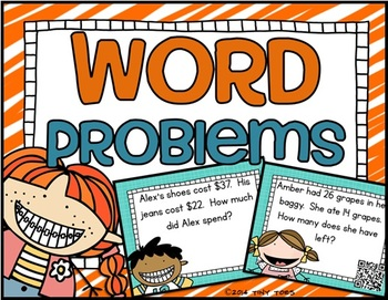 SCOOT Math Word Problems Task Cards and QR Codes Kids Theme