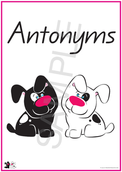40 Pairs of Antonyms or Opposites - -  IN ALL 7 FONTS FROM