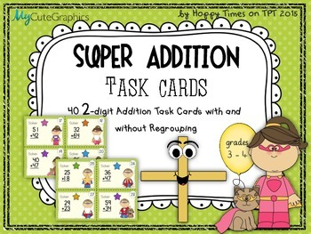 40 TWO-DIGIT NUMBERS ADDITION MATH TASK CARDS (sums with/