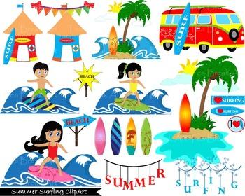 41 PNG Files- Summer Surfing ClipArt- Digital Clip Art - 3