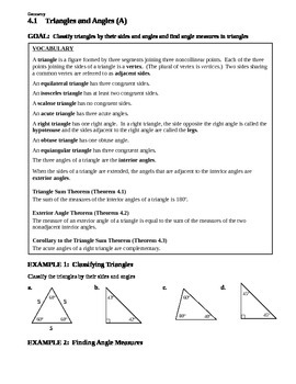 4.1 Triangles and Angles (A)
