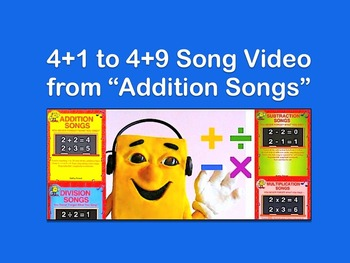 """4+1 to 4+9 mp4 Video Song from """"Addition Songs"""" by Kathy Troxel"""