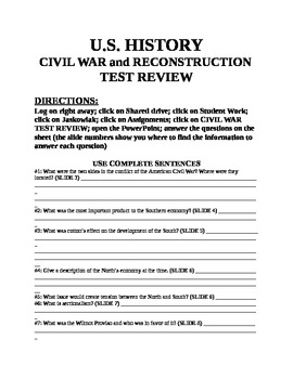 x U.S. HISTORY American Civil War Test Review QUESTION PACKET