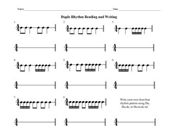 4/4 Duple Rhythm Pattern Reading/Writing Sheet