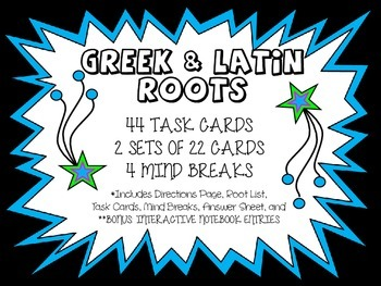 44 Greek and Latin Roots (Notes, 2 Sets of 22 QR Code Task