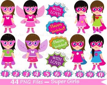 44 PNG- Girls SuperHeroes Set Clipart - Digital Clip Art -