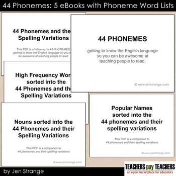 44 Phonemes: 5 eBooks with Word Lists arranged by Phonemes