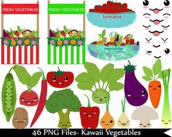 46 PNG Files- Kawaii Vegetables- Digital Clip Art - 300 dpi 109