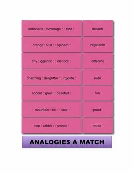 Analogies A Match Manipulatives & Task Cards