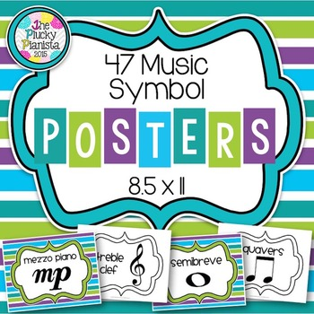 Music Symbol Posters {47 8.5×11 Signs with Bright Stripes}