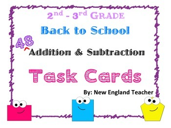 48 Back to School Math Task Cards: Two Digit Addition and