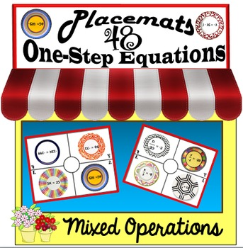 48 One-Step Equations on Placemats- Mixed Operations