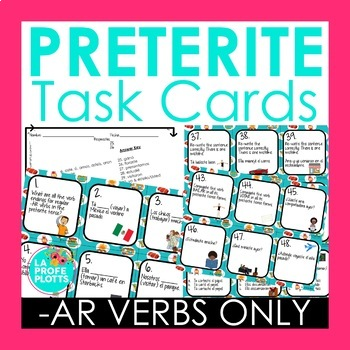 48 Spanish Preterite Tense Task Cards (REGULAR -AR VERBS ONLY)