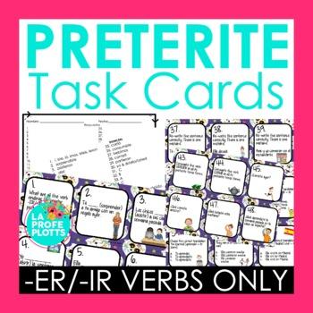 48 Spanish Preterite Tense Task Cards (REGULAR -ER/-IR VER