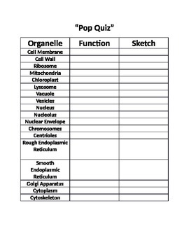 4A SS Cell Structure & Function Formative Assessment