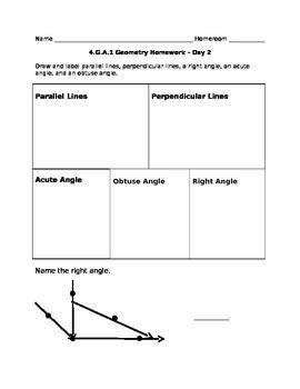 4.G.A.1 Math Homework - Day 2