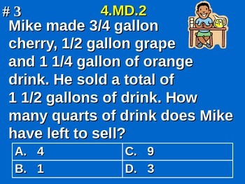 4.MD.2 4th Grade Math - Distance, Time, Volume, Mass, and