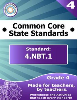 4.NBT.1 Fourth Grade Common Core Bundle - Worksheet, Activ