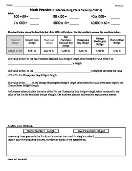 Common core 5 nbt 1 worksheets