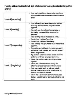4NBT4 (4.NBT.B.4) Learning Progression