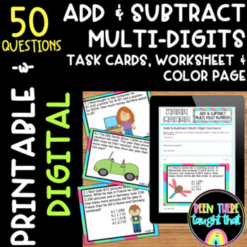 4.NBT.4 Adding & Subtracting Task Cards, Worksheet & Color