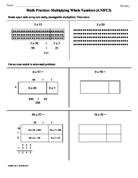 (4.NBT.5) Multiplying Whole Numbers:4th Grade Common Core