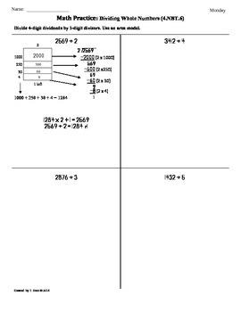 (4.NBT.6)Dividing Whole Numbers Part 4: 4th Grade Common C