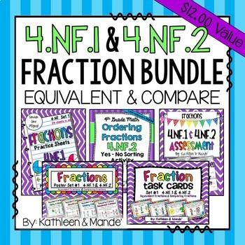 4.NF.1 & 4.NF.2 Bundle: Equivalent Fractions & Comparing F