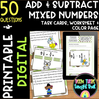 4.NF.3 c&d Add/Subtract Mixed Numbers Task Cards, Workshee