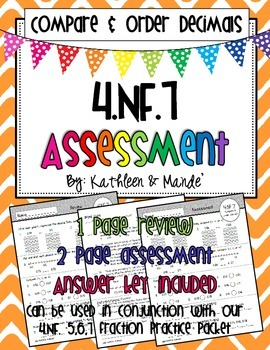 4.NF.7 Assessment: Compare & Order Decimals