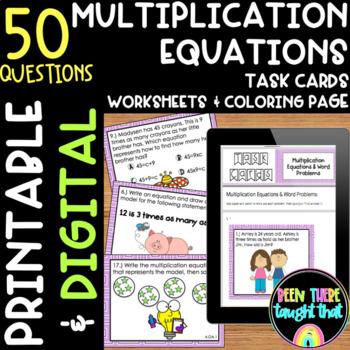 4.OA.1 Multiplication Task Cards & Worksheet