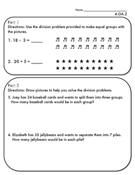 4.OA.2 Basic Division Practice Pages