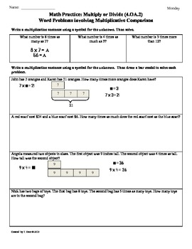 (4.OA.2)Word Problems-Multiplicative Comparison:4th Grade