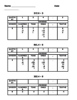 LONG DIVISION ALGORITHM PREPARATION: MATH COMMON CORE 4TH