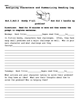 4TH OR 5TH Grade Reading Logs Collection for Common Core H
