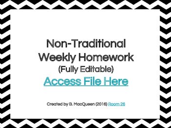 4th, 5th, 6th Grade Non-Traditional Weekly Homework (Googl