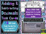 Add, Subtract Decimals QR Task Cards with Strip / Tape Dia