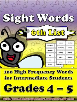 4th - 5th Grade Sight Word List #6 - Sixth 100 High Freque