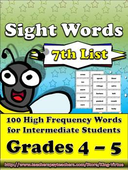 4th - 5th Grade Sight Word List #7 - Seventh 100 High Freq
