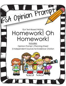 4th/5th Grade Text-Based Writing: Homework! Oh Homework! (