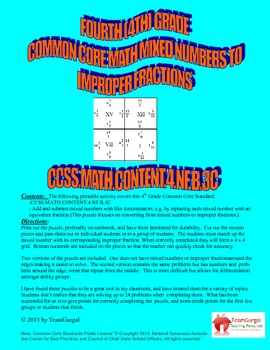 4th (Fourth) Grade Common Core - Converting Mixed Numbers