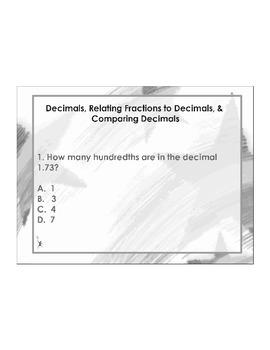 4th Grade ActivInspire 5 question assessment (Decimal Over
