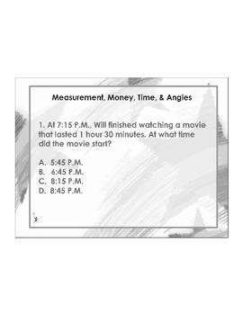 4th Grade ActivInspire 5 question assessment Measurement 4
