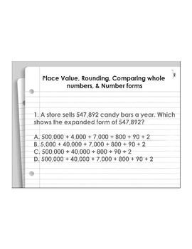 4th Grade ActivInspire 5 question assessment Place Value 4