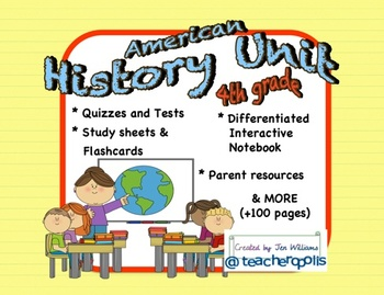 4th Grade American History Unit with Differentiation, Asse