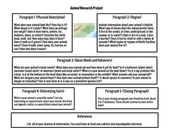 4th Grade Animal Research Project