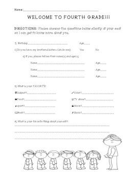 4th Grade Back to School Survey
