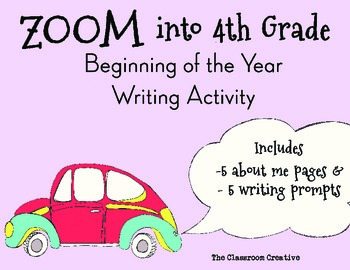 4th Grade Beginning of the Year Writing Activity