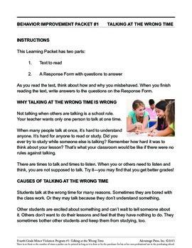 4th Grade Behavior Improvement Packet: Talking