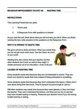 4th Grade Behavior Improvement Packet: Waste Time